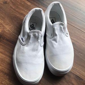 White on white classic slide vans size 3